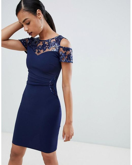 4bee78e70ab0 Lipsy - Blue Cold Shoulder Dress With Lace Detail - Lyst ...