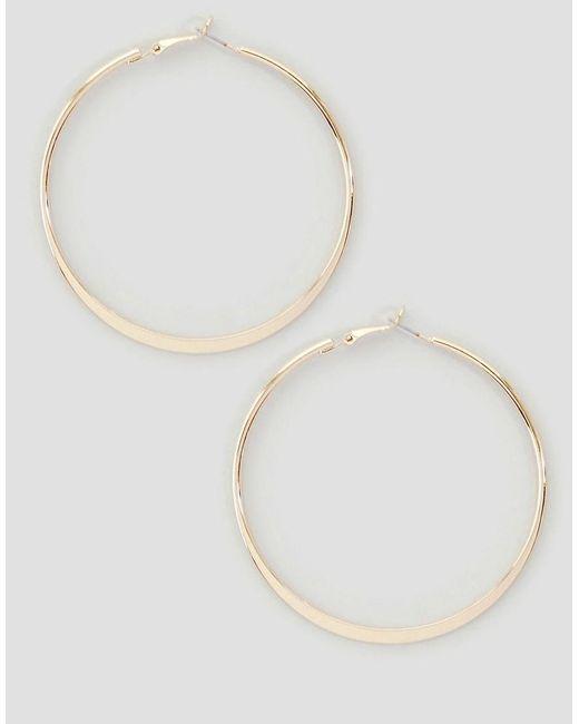 River Island - Metallic Medium Flat Bottom Hoop Earrings - Lyst