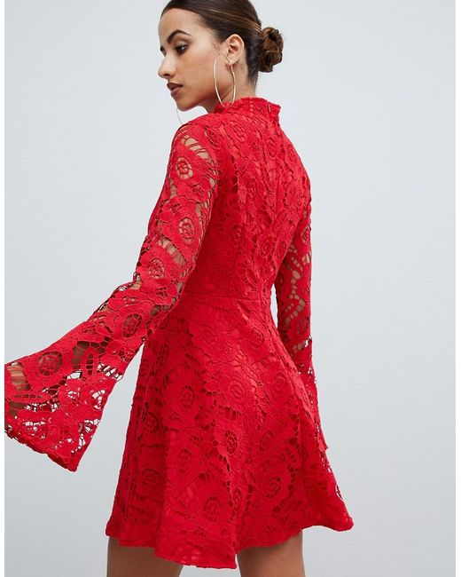 0e96dafc2e3 PrettyLittleThing Lace Fluted Sleeve Skater Dress In Red in Red - Lyst