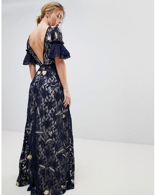 Allover Floral Embroidered Lace Maxi Dress With Flutter Sleeve
