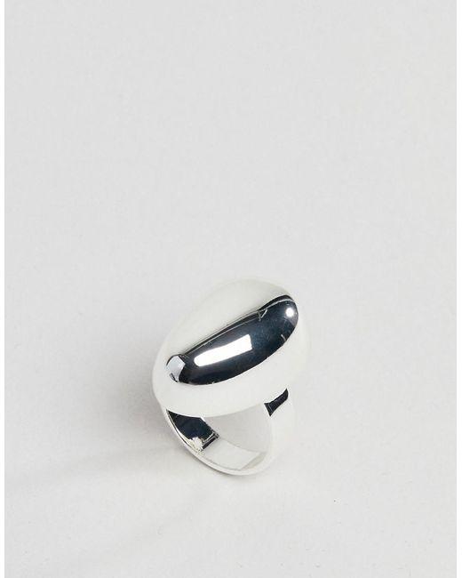 ASOS DESIGN - Metallic Silver Plated Fluid Ovoid Shape Ring - Lyst