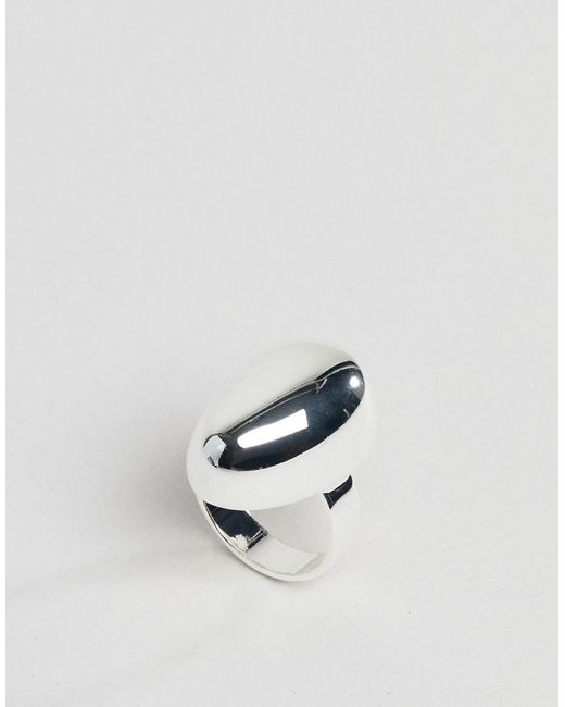 ASOS - Metallic Silver Plated Fluid Ovoid Shape Ring - Lyst
