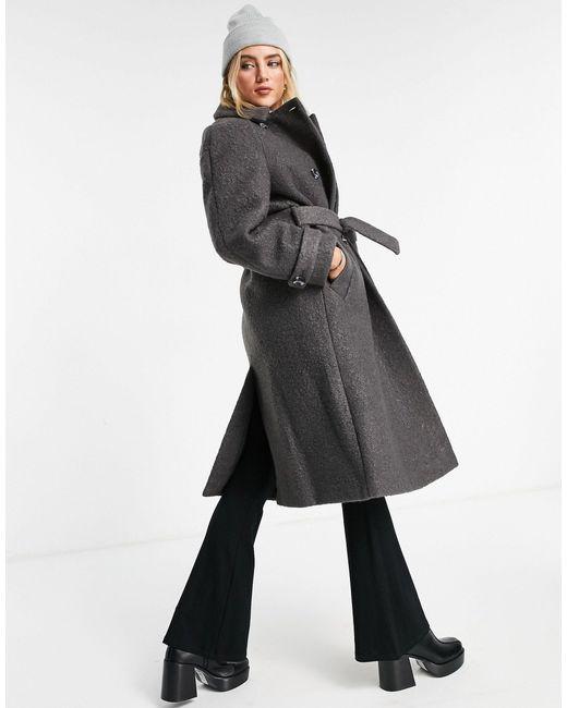 Пальто-тренч Из Пряжи Букле Угольного Цвета -серый TOPSHOP, цвет: Gray