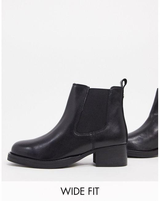 Dune Black Wide Fit – Power – Chelsea-Stiefel aus schwarzem Leder
