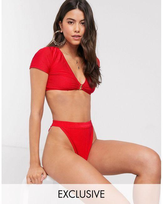 Esclusiva - Slip bikini sgambati a vita alta mix & match a coste rossi di South Beach in Red