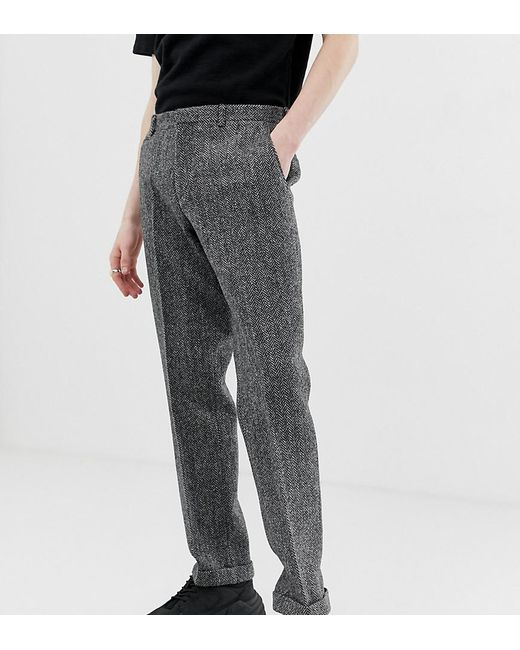 Noak Gray Slim Fit Harris Tweed Suit Trousers In Grey for men