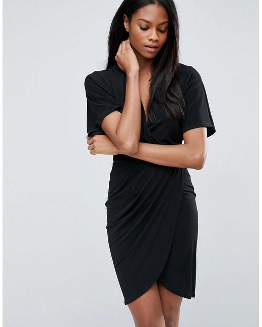 ASOS - Black Asos Wrap Dress In Crepe - Lyst