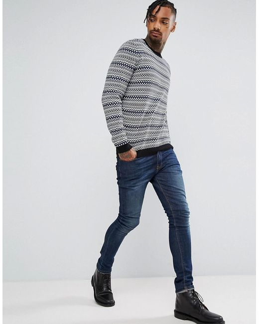 Lyst - Asos Cotton Fairisle Jumper In Blue in Blue for Men