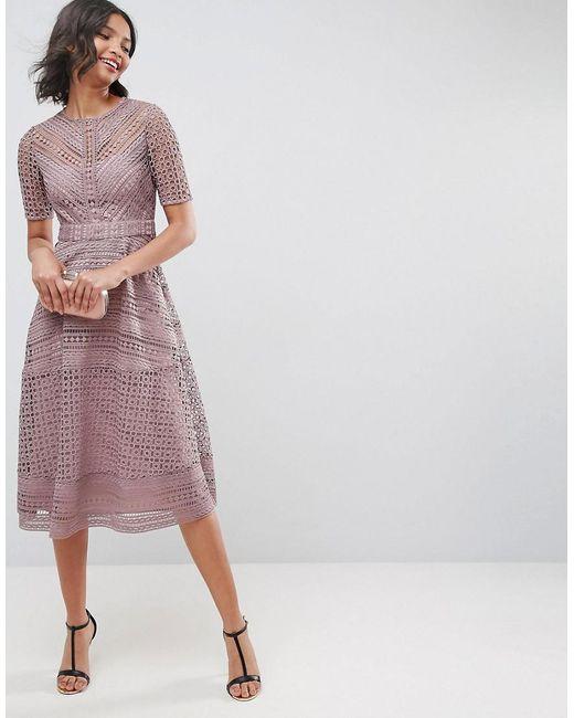 Asos Premium Occasion Lace Midi Dress In Blue