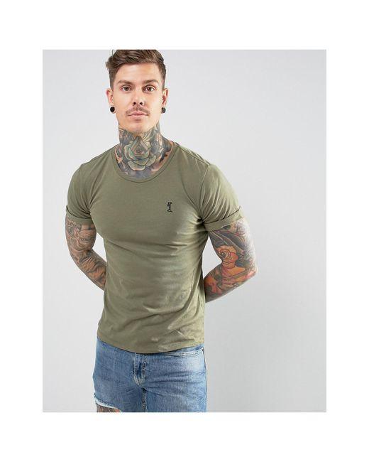Religion – Khaki T-Shirt mit Rollärmeln und Logo in Green für Herren