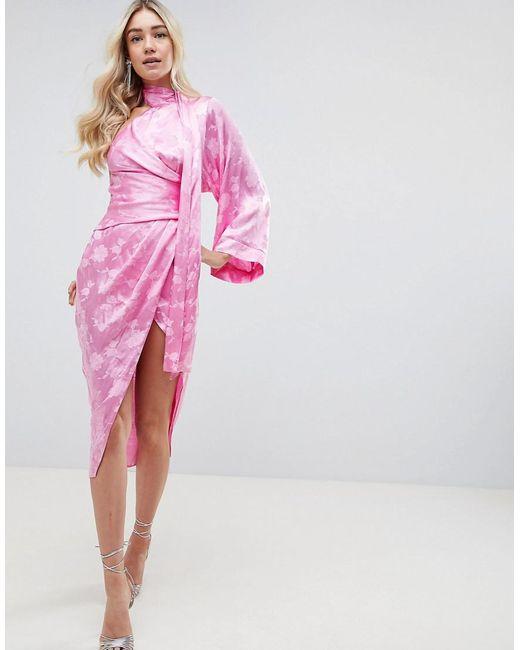 57e8d61ea08 ASOS - Pink Kimono Sleeve Sash Midi Dress In Soft Jacquard - Lyst ...