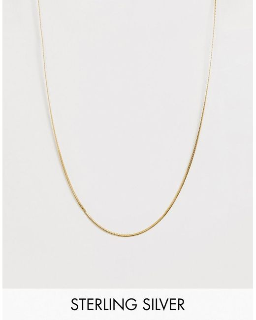 ASOS – Halskette aus Sterlingsilber mit 14 Karat auflage in Metallic für Herren
