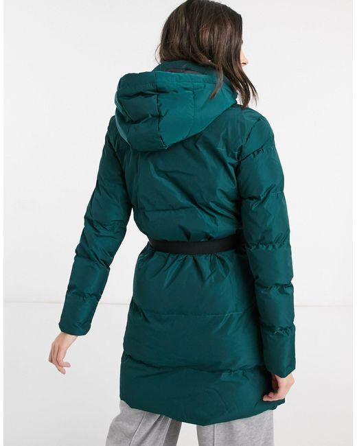 Темно-синий Удлиненный Пуховик С Поясом -зеленый AX Paris, цвет: Green