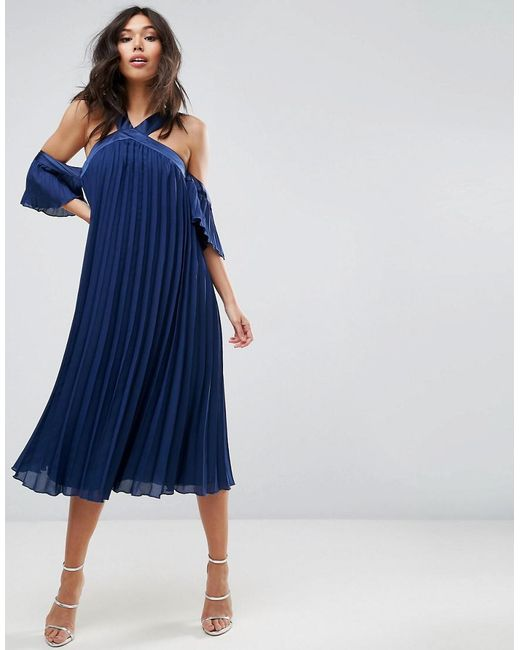 ASOS - Blue Pleated Long Length Cold Shoulder Midi Dress - Lyst