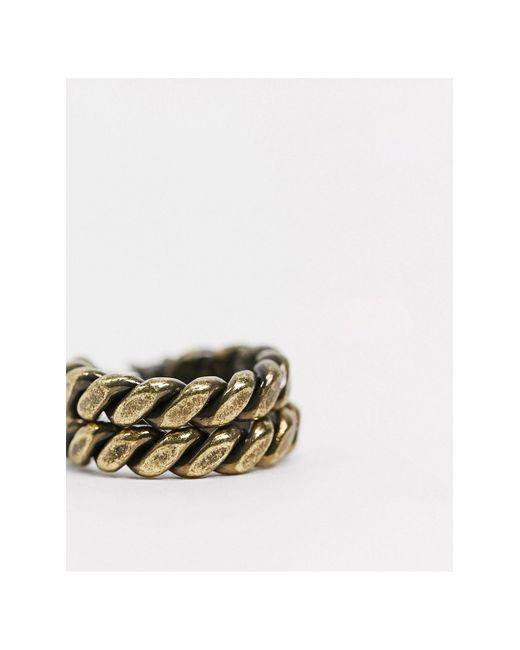 Золотистые Витые Серьги-кольца Inspired-золотой Reclaimed (vintage) для него, цвет: Metallic