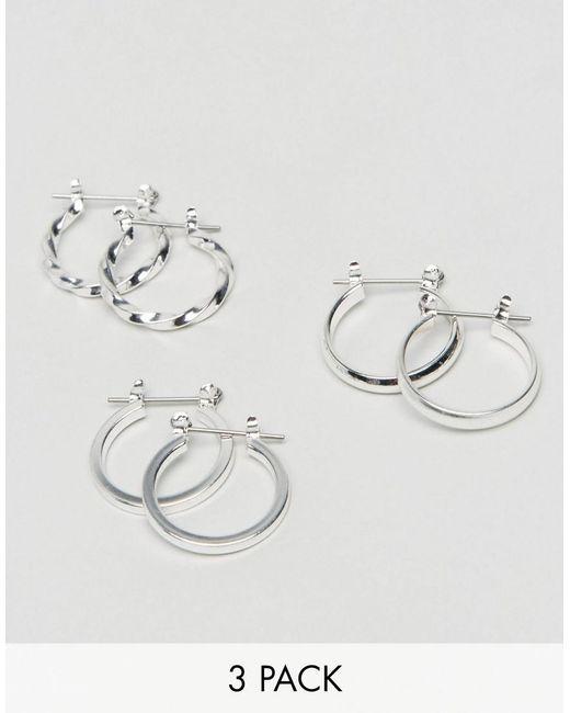 ASOS - Metallic Design Pack Of 3 20mm Hoop Earrings In Silver - Lyst