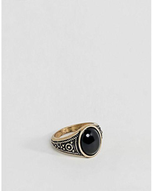 ASOS - Metallic Pinky Ring In Gold Tone With Black Enamel for Men - Lyst