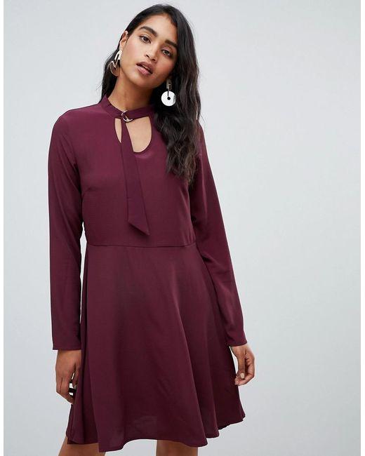 Vila - Red Long Sleeve Smock Mini Dress In Burgundy - Lyst