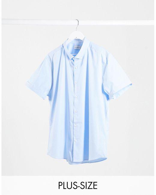 Big & Tall - Camicia a maniche corte elasticizzata blu di Topman in Blue da Uomo