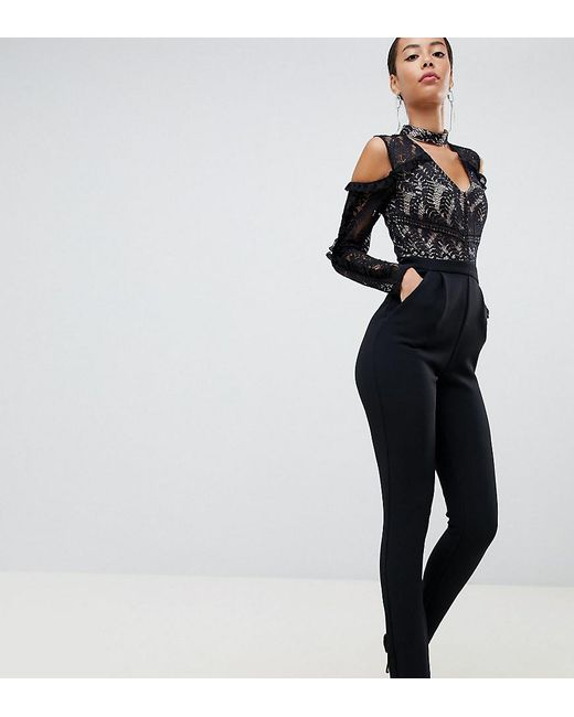 c867de2350f True Decadence - Black Cold Shoulder Lace Top Jumpsuit With Ruffle Sleeves  - Lyst ...