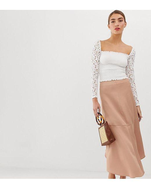fc057ed38 Falda midi de satn en rosa STR de de mujer de color gris