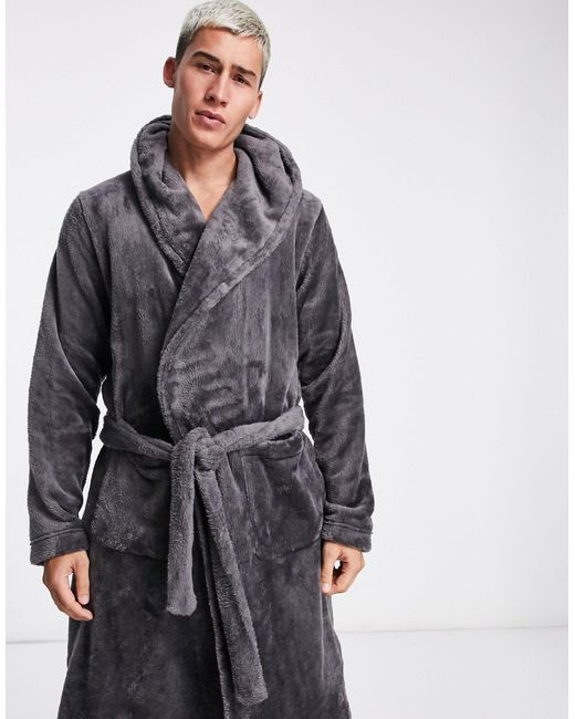 Флисовый Халат Для Дома Угольного Цвета ASOS для него, цвет: Gray