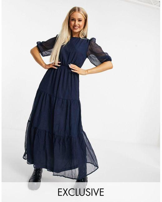 Ярусное Платье Макси Темно-синего Цвета -темно-синий Missguided, цвет: Blue