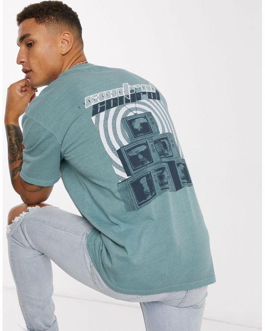 Шалфейно-зеленая Oversized-футболка С Принтом На Спине -зеленый Цвет Topman для него, цвет: Green