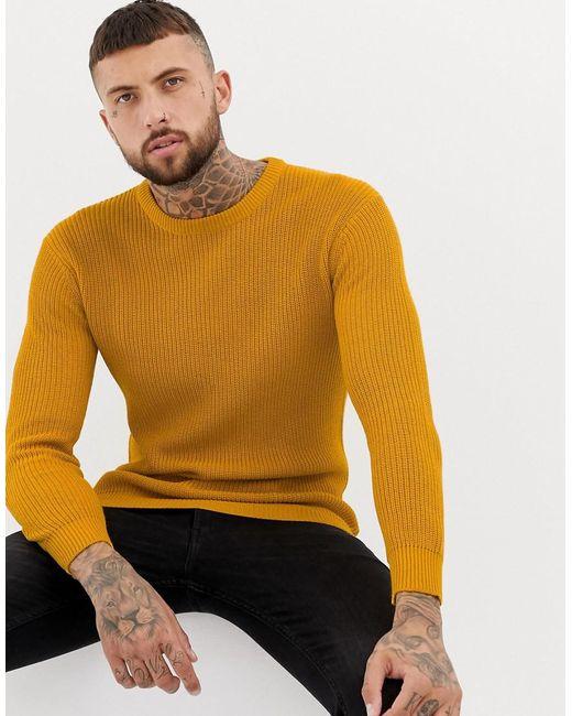 Bershka - Yellow Knitted Jumper In Mustard for Men - Lyst