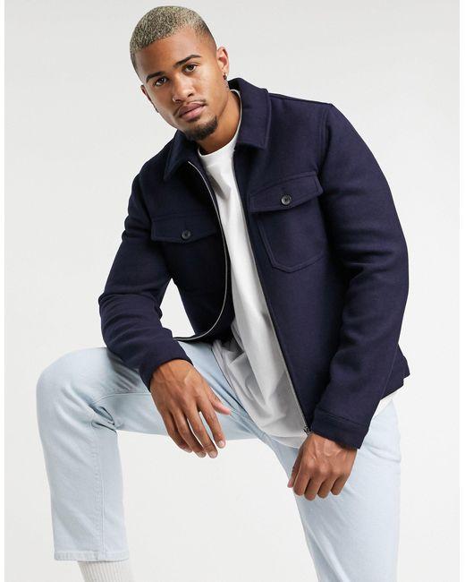 Темно-синяя Куртка Харрингтон С Добавлением Шерсти ASOS для него, цвет: Blue