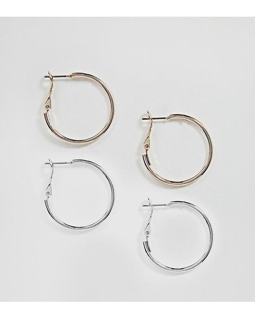 ASOS - Metallic Design Two Pack Simple Hoop Earrings - Lyst