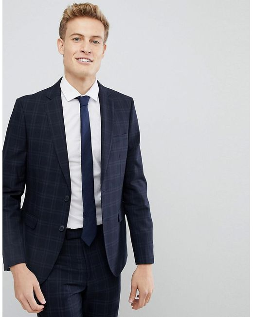 Moss Bros Blue Moss London Skinny Suit Jacket In Check for men