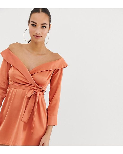 61abc516ff Missguided - Pink Off Shoulder Midi Dress In Peach Satin - Lyst ...