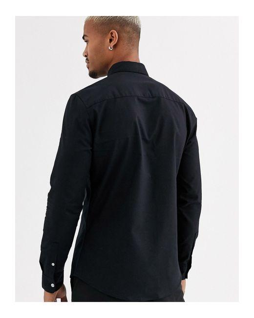 Черная Оксфордская Рубашка -черный Topman для него, цвет: Black