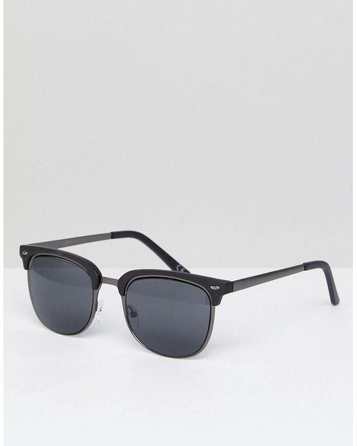 b9bb7f296a8ee ASOS - Blue Gafas de sol de estilo retro en gris plomo y negro mate de ...