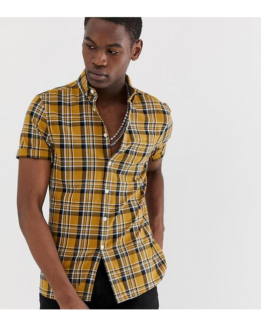 4b4e25187 ASOS - Yellow Tall Slim Fit Check Shirt In Mustard for Men - Lyst ...