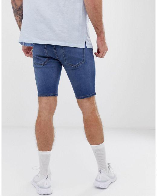 Short en jean - moyen River Island pour homme en coloris Blue