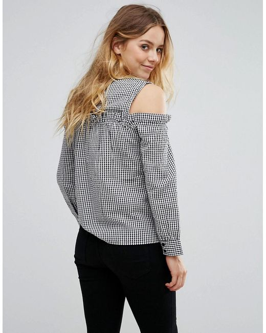 Women/'s Wrap Bodice Long Bell Sleeve Cold Shoulder V Neck Top Blouse Tee Shirt