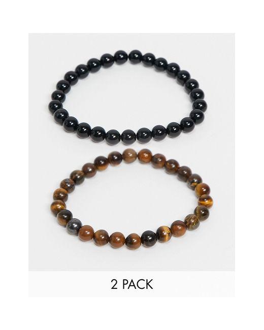 ASOS Multicolor Beaded Bracelet Pack for men