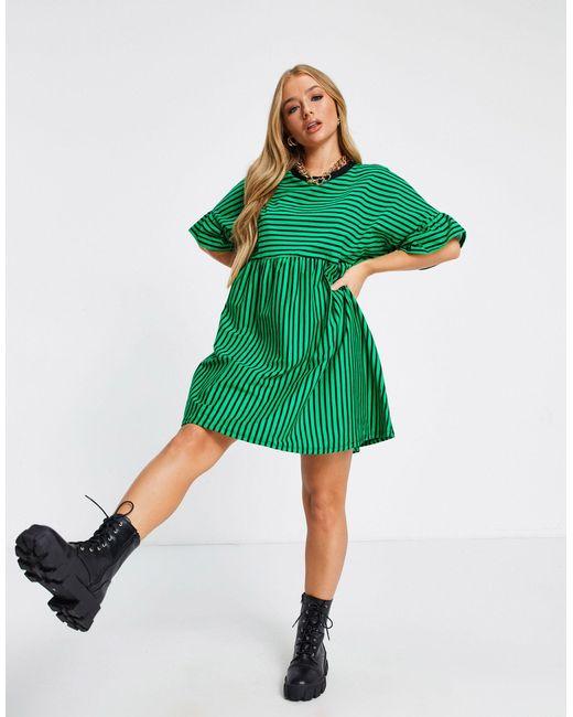 Платье В Стиле Super Oversized Зеленого Цвета В Черную Полоску ASOS, цвет: Green