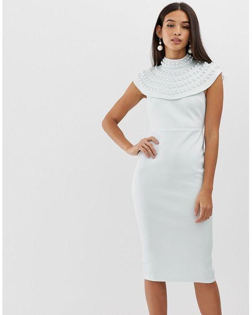 0ad2d1015f4de ASOS - White Pearl Embellished Cape Midi Pencil Dress - Lyst ...