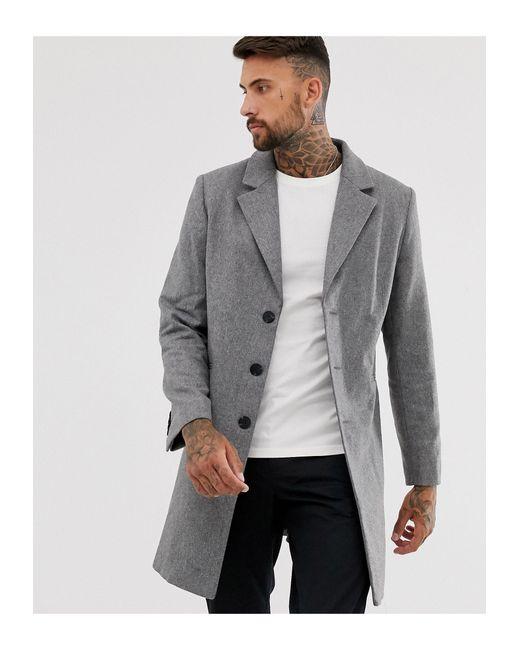 Серое Полушерстяное Пальто ASOS для него, цвет: Gray