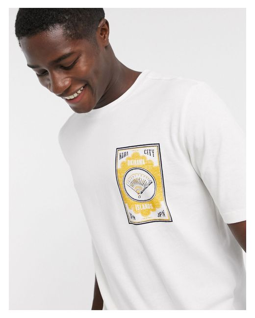 SELECTED White Oversized Graphic Logo T-shirt for men