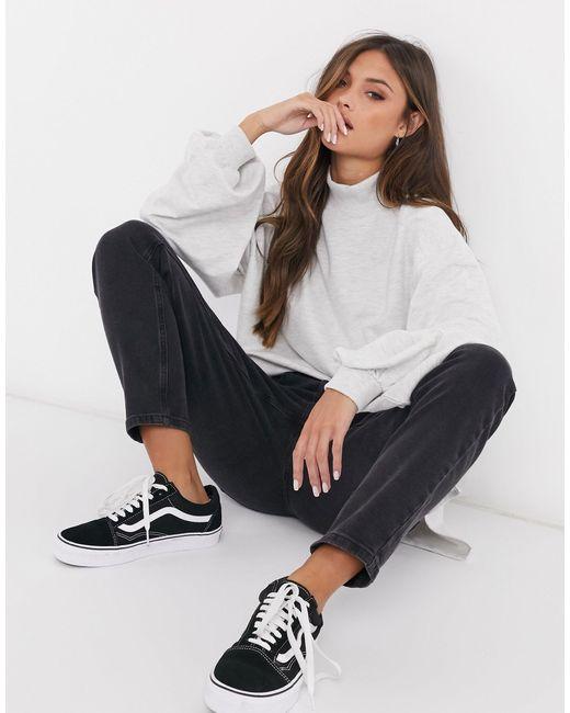 ASOS White – Leichtes Oversize-Sweatshirt mit hohem Kragen und Ziernähten