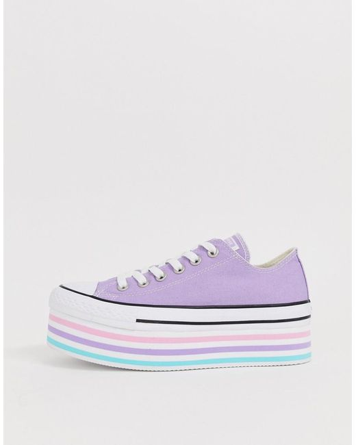 Converse chuck taylor all star super platform layer lilac trainers