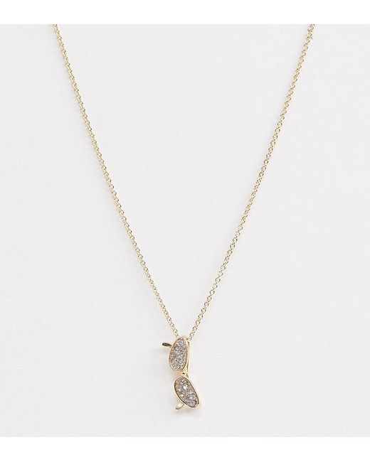 ASOS Metallic Asos Design Curve Necklace With Vintage Style Sunglasses Pendant In Gold