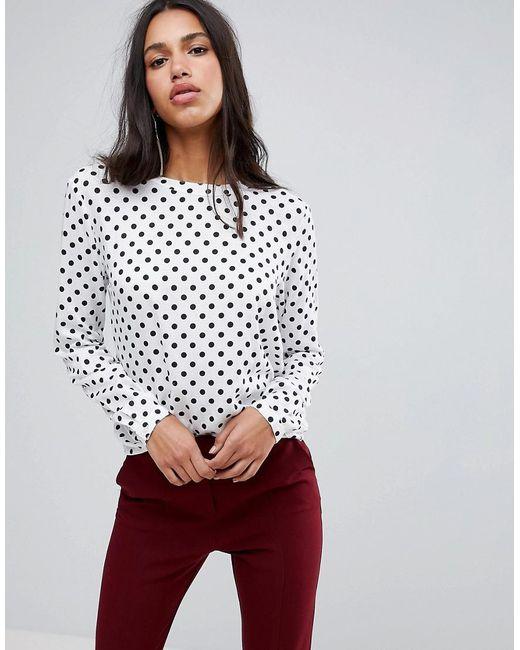 Blend She - White Melly Dot Print Blouse - Lyst