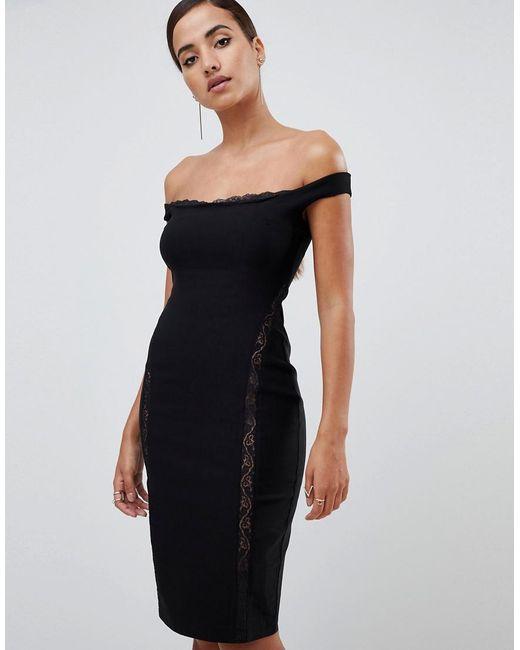 Vesper - Lace Underlay Bardot Bodycon Midi Dress In Black - Lyst