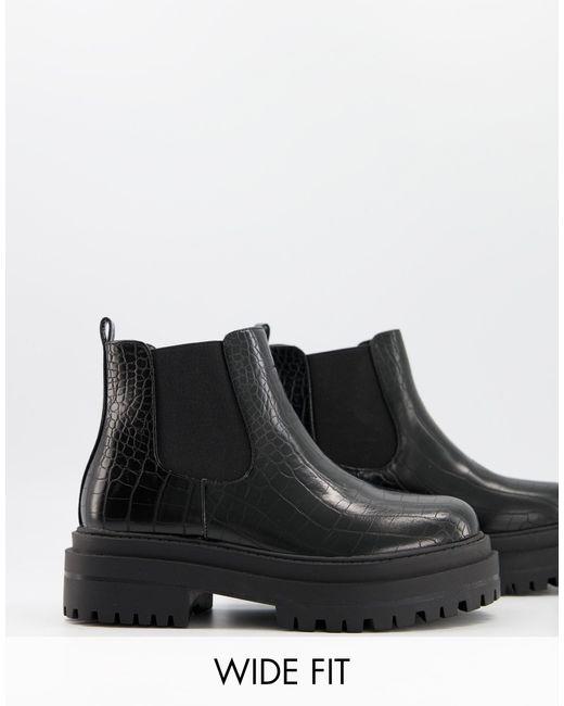 Черные Ботинки Челси На Массивной Подошве Для Широкой Стопы Ronnie-черный Цвет Raid Wide Fit, цвет: Black