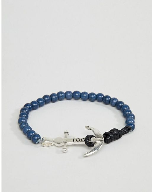 Icon Brand - Blue Navy Beaded Bracelet With Anchor Closure for Men - Lyst